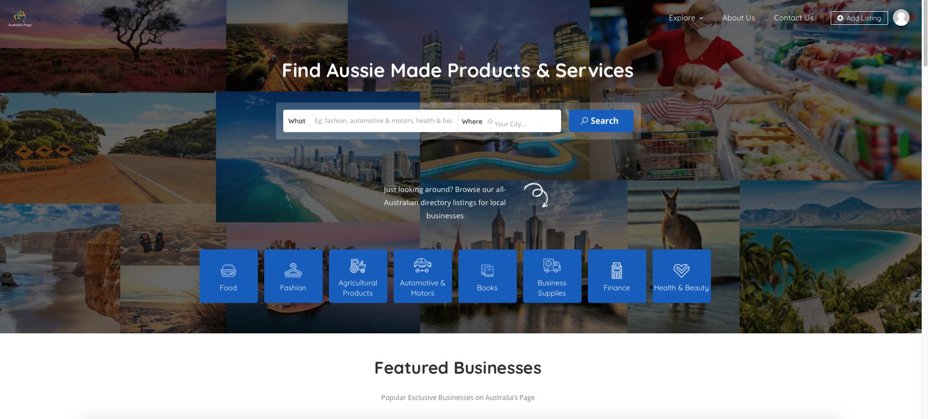 Shopify Website Design sample - Australia's Page