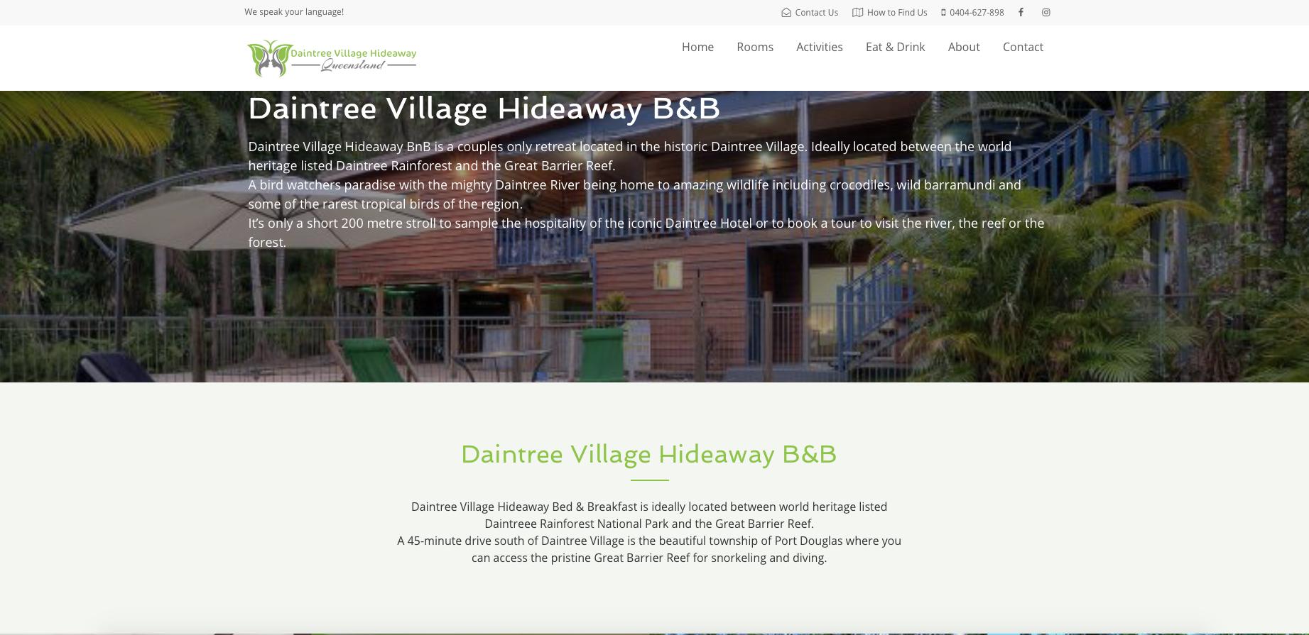 Website design sample - Daintree Village Hideaway, Queensland