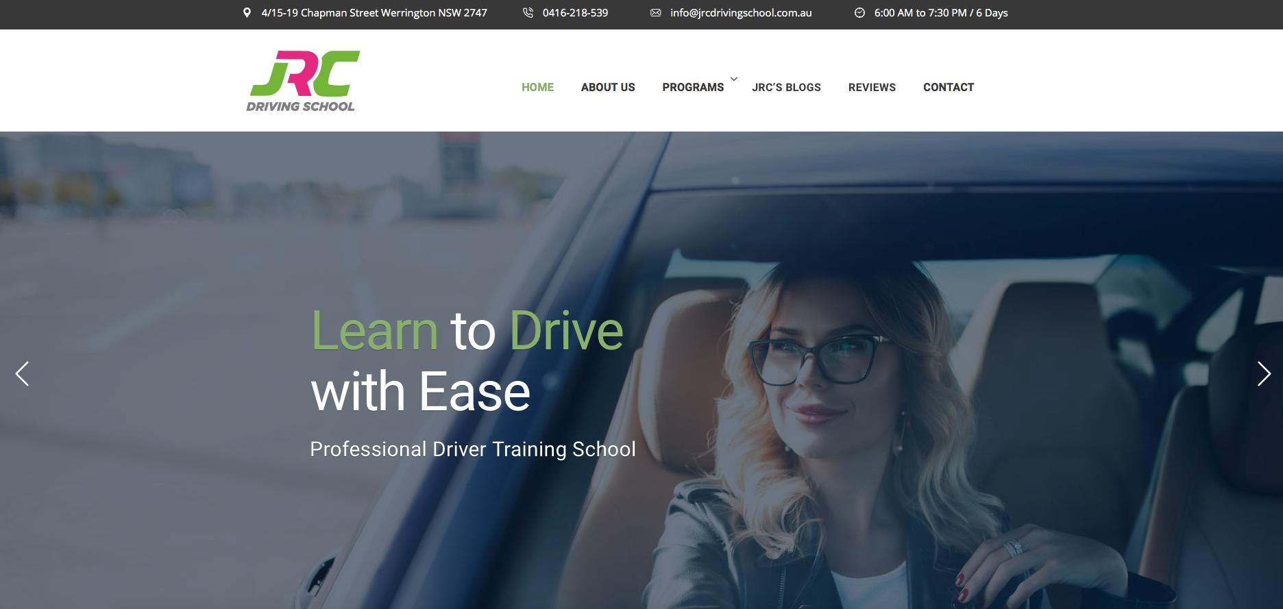 Business website sample - JRC Driving School