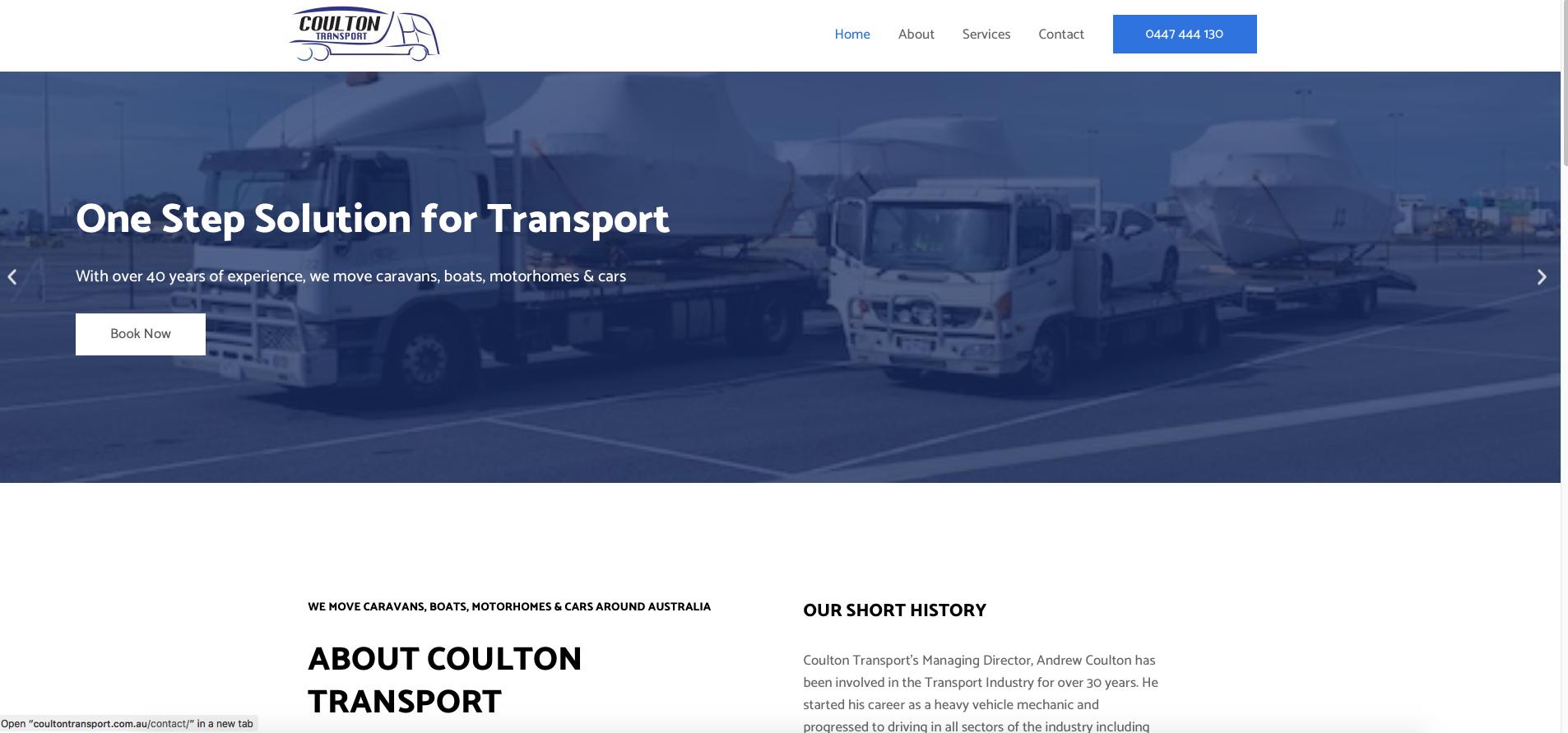 Online-now Website work sample - Coulton Transport