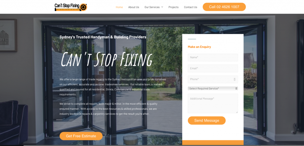 Web desing sample - Can't stop fixing - Sydney trusted handyman & building providers